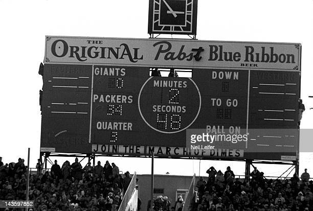 NFL Championship View of scoreboard during Green Bay Packers vs New York Giants at City Stadium Packers leading Giants 340 with 2 minutes 48 seconds...
