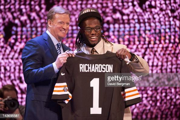 NFL Draft Cleveland Browns RB and No 3 overall pick Trent Richardson with NFL commissioner Roger Goodell during selection process at Radio City Music...