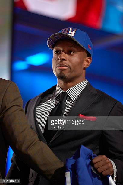 NFL Draft Closeup of New York Giants cornerback and No 10 overall pick Eli Apple on stage during selection process at Auditorium Theatre of Roosevelt...