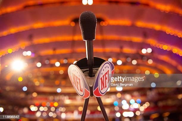 NFL Draft Closeup view of microphone on podium with NFL logo during selection process at Radio City Music Hall New York NY CREDIT David Bergman