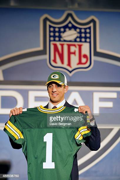 NFL Draft Green Bay Packers QB and No 24 overall pick Aaron Rodgers during selection process at Jacob K Javits Convention Center New York NY...