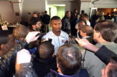 NFL Scouting Combine Former Alcorn State QB Steve McNair surrounded by reporters after workout at RCA Dome Media Indianapolis IN CREDIT John Biever
