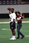 NFL Scouting Combine Former Alcorn State QB Steve McNair being filmed by cameraman at RCA Dome Indianapolis IN CREDIT John Biever