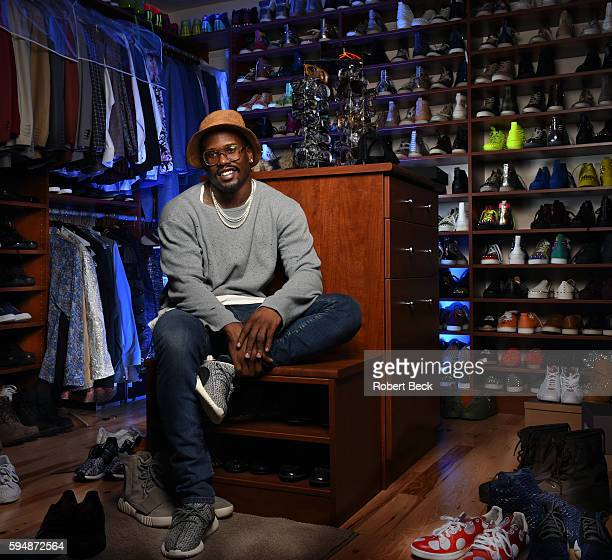 NFL Season Preview Casual portrait of Denver Broncos linebacker Von Miller posing in his walkin fashion closet during photo shoot at home View of his...