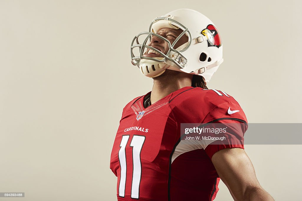 NFL Season Preview Closeup portrait of Arizona Cardinals wide receiver Larry Fitzgerald posing during photo shoot at DoubleTree by Hilton San Diego...