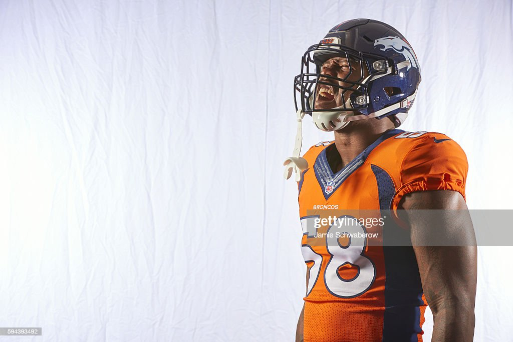NFL Season Preview Closeup portrait of Denver Broncos linebacker Von Miller posing during photo shoot at Paul D Bowlen Memorial Broncos Centre Cover...