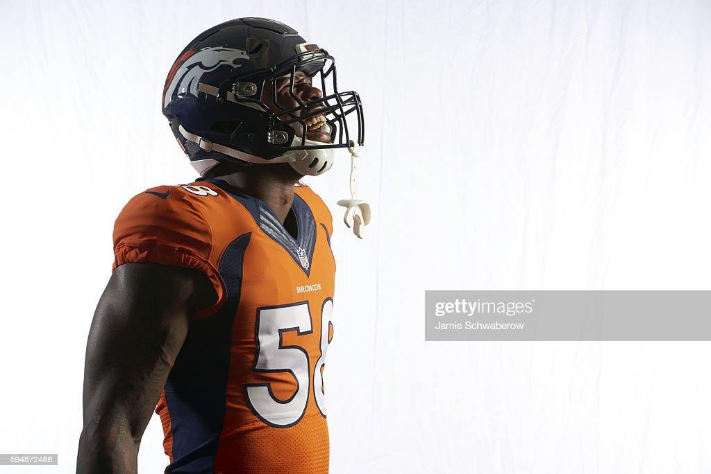 NFL Season Preview Closeup portrait of Denver Broncos linebacker Von Miller posing during photo shoot at Paul D Bowlen Memorial Broncos Centre...