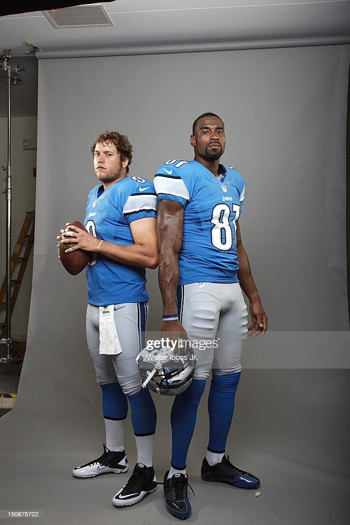 Portrait of Detroit Lions QB Matthew Stafford (9) and wide receiver Calvin Johnson (81) during photo shoot at Lions Headquarters & Training Facility. Cover. Walter Iooss Jr. F134 )
