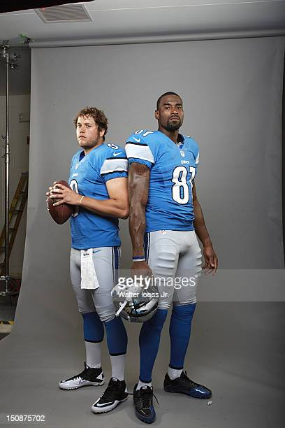 NFL Season Preview Portrait of Detroit Lions QB Matthew Stafford and wide receiver Calvin Johnson during photo shoot at Lions Headquarters Training...