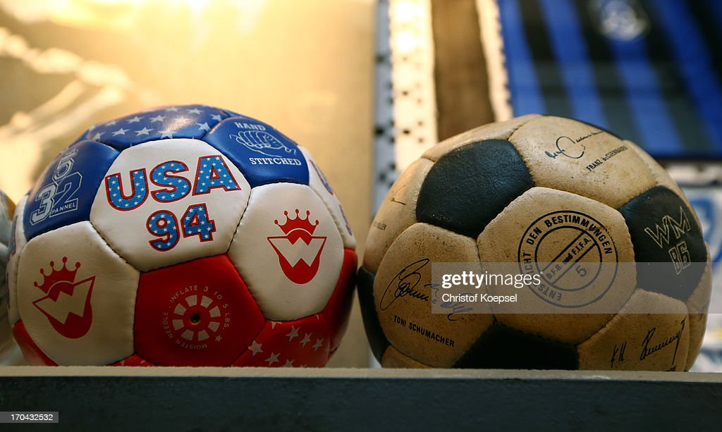 A football of the World Cup 1994 in the United States and the World Cup 1986 in Arentina is seen at Schachtschatz Museum coal-mine Hugo tray two on June 4, 2013 in Gelsenkirchen, Germany.