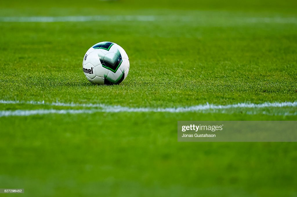 A football on the pitch during the Allsvenskan match between Kalmar FF and Orebro SK at Guldfageln Arena on May 2, 2016 in Kalmar, Sweden.