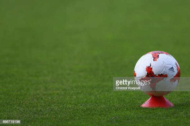 A football on the pitch is seen prior to the Women's International Friendly match between Belgium and Japan at Stadium Den Dreef on June 13 2017 in...