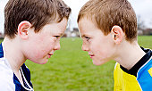 Football opponents face to face
