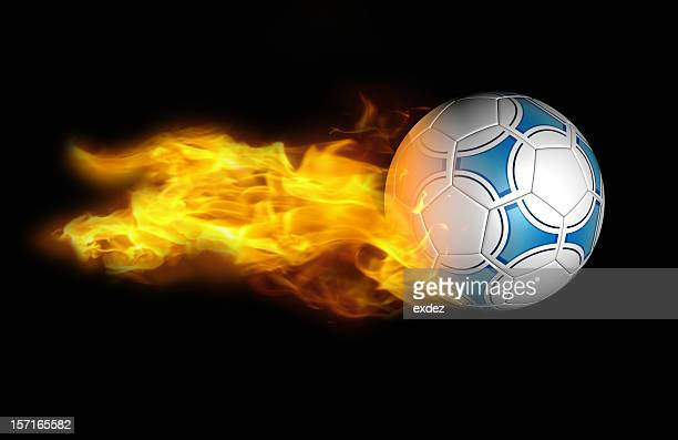 football or soccer with fire flame