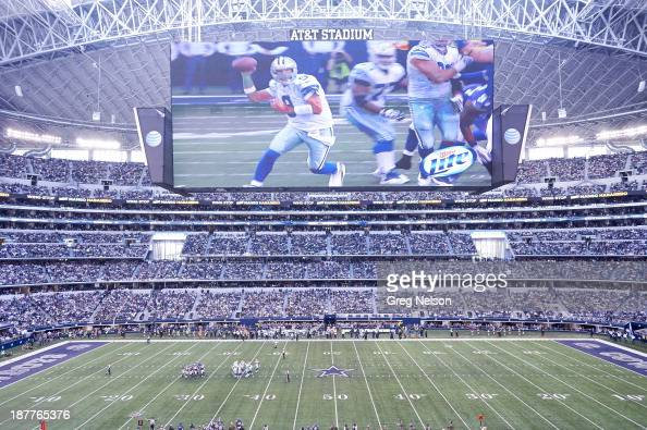 Overall view of HD video screen above field during Dallas Cowboys vs Minnesota Vikings game at ATT Stadium Arlington TX CREDIT Greg Nelson