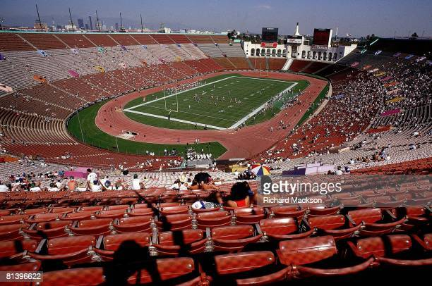 Football Overall view of Los Angeles Memorial Coliseum with empty stands during Kansas City Chiefs action vs Los Angeles Raiders scab game Los...