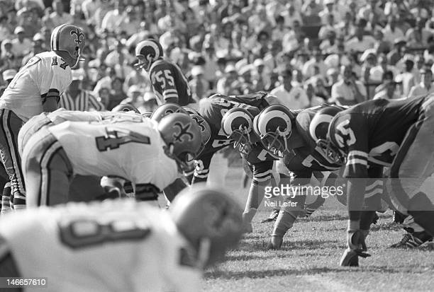 Overall view of Los Angeles Rams defensive line lined up during game vs New Orleans Saints at Tulane Stadium Fearsome FoursomeNew Orleans LA...