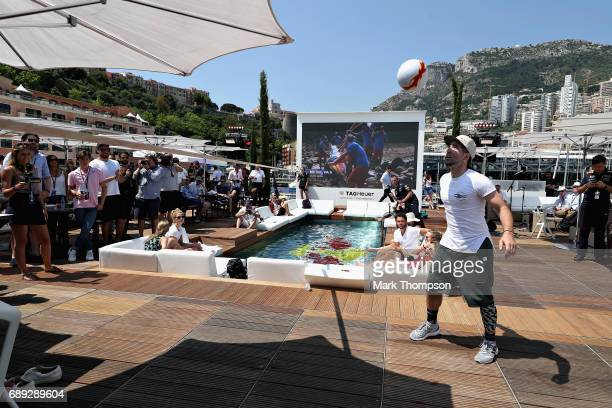 Football performance on the Red Bull Racing Energy Station during the Monaco Formula One Grand Prix at Circuit de Monaco on May 28 2017 in MonteCarlo...
