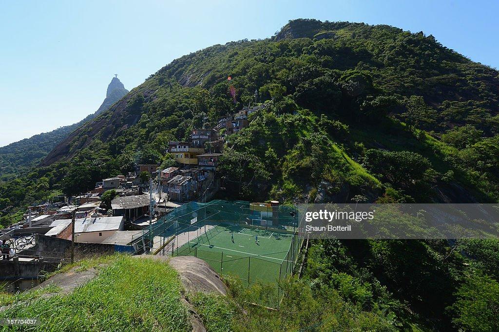 A football pitch in Santa Marta Favela on December 5, 2012 in Rio de Janeiro, Brazil.