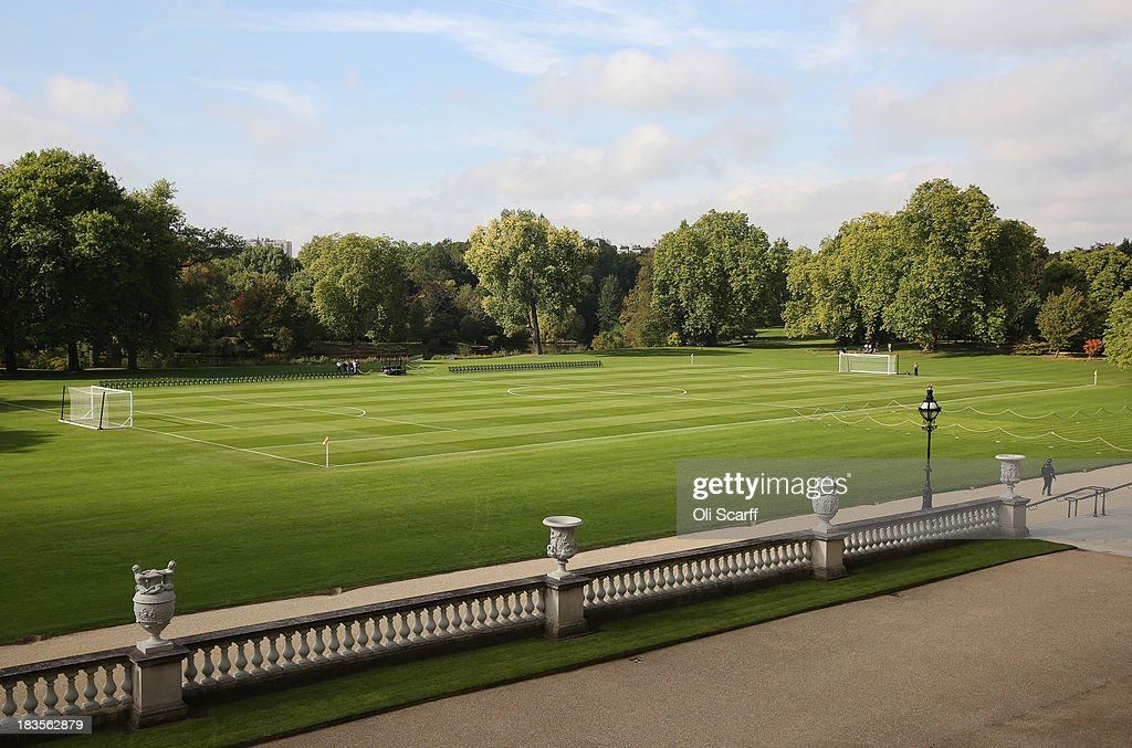 A football pitch is set up in the grounds of Buckingham Palace prior to a football match to mark the Football Association's 150th anniversary on October 7, 2013 in London, England. 150 volunteers who work to support grassroots football. were presented with a medal by The Duke of Cambridge and Greg Dyke, the Charmian of the Football Association. To celebrate 150 years of the FA, an official Southern Amateur League fixture football match will take place in the grounds of Buckingham Palace between two of the oldest amateur clubs in England. The match will be played between Civil Service FC, the sole surviving club from the eleven that met to create The FA in 1863, and Polytechnic FC, which was formed in 1875.