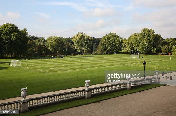 A football pitch is set up in the grounds of Buckingham Palace prior to a football match to mark the Football Association's 150th anniversary on...