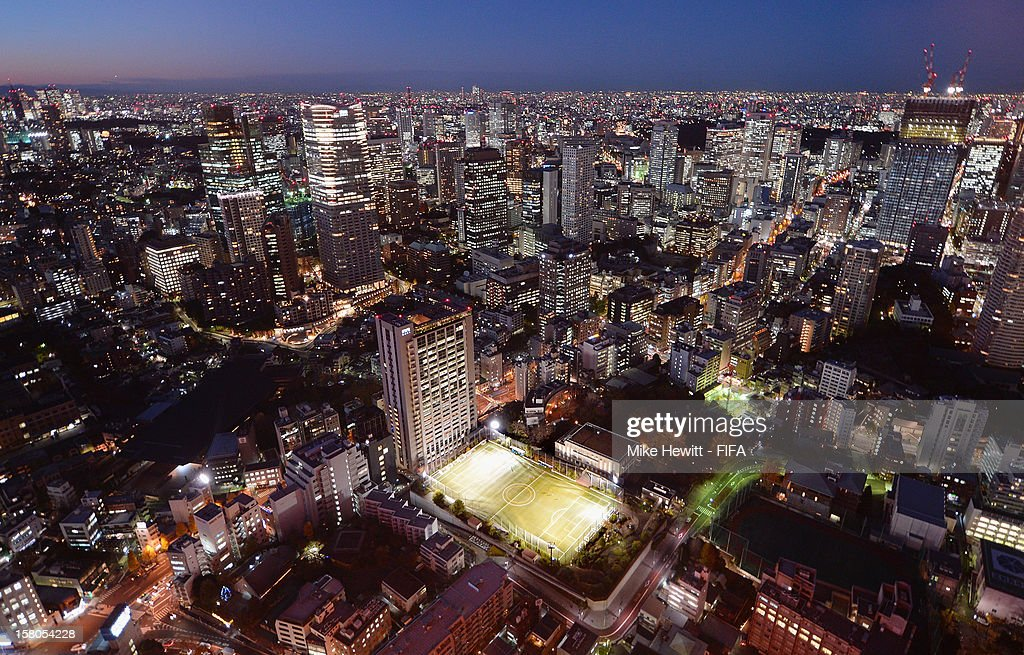 A football pitch is squeezed into the middle of the Tokyo skyline ahead of the FIFA Club World Cup on December 10, 2012 in Tokyo, Japan.