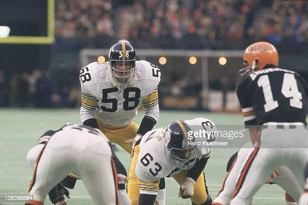 Pittsburgh Steelers Jack Lambert in action vs Cincinnati Bengals at Riverfront Stadium Cincinnati OH CREDIT Heinz Kluetmeier