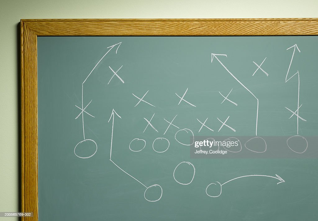 Football play diagram, close-up : Stock Photo