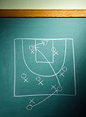 Football play diagram on blackboard, close-up