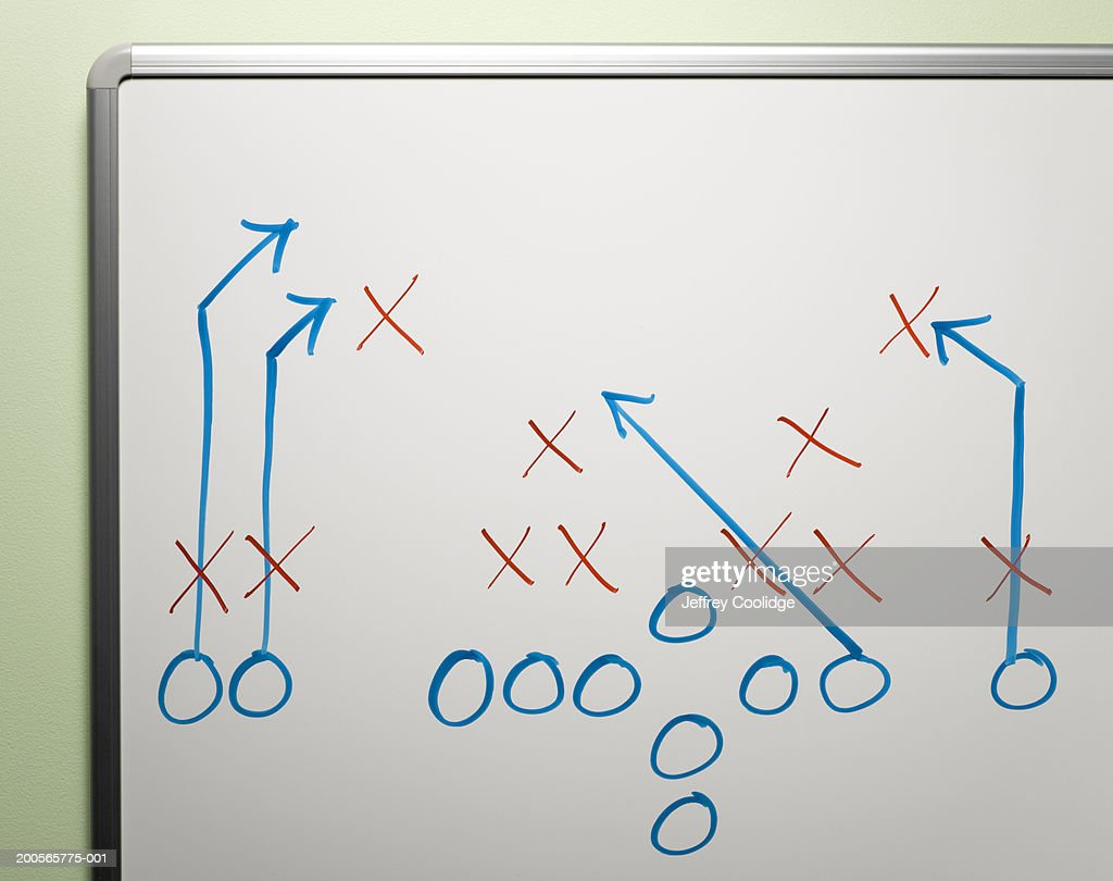 Football play diagram on whiteboard, close-up : Stock Photo