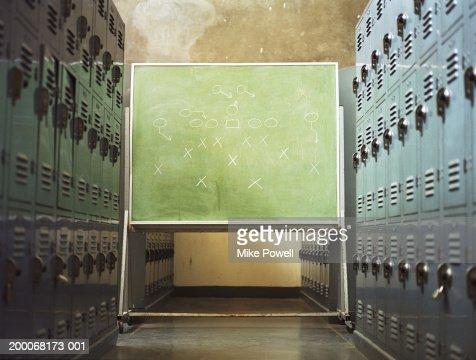 Football play written on chalkboard in locker room