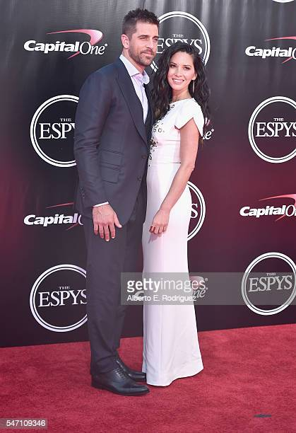 Football player Aaron Rodgers and actress Olivia Munn attend the 2016 ESPYS at Microsoft Theater on July 13 2016 in Los Angeles California