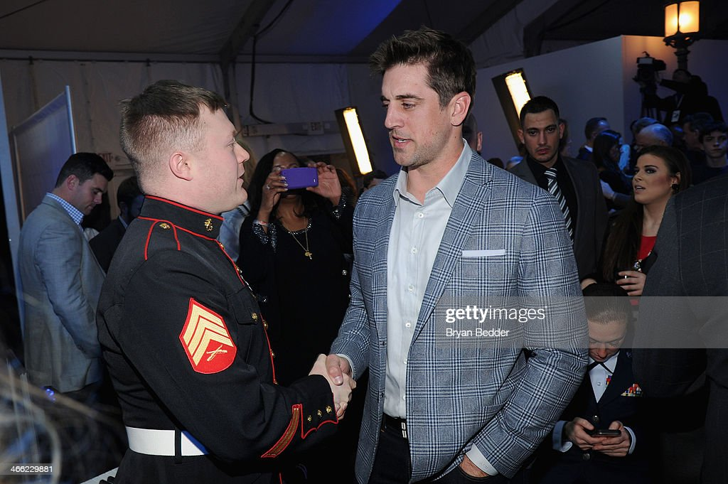 Football player Aaron Rodgers and guest attend PepsiCo Honors Bob Woodruff Foundation With Blake Shelton Concert from #PEPCITY at Bryant Park on...