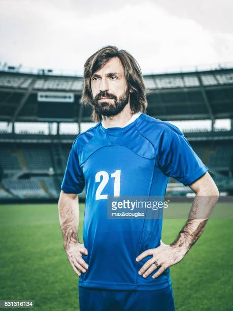 Football player Andrea Pirlo is photographed for Garnier on April 11 2014 in Turin Italy