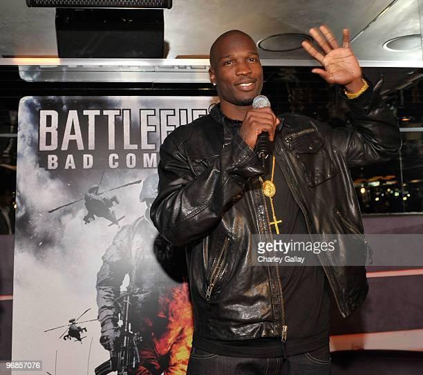 NFL football player Chad Ochocinco hosts the Battlefield Celebrity Bracket Challenge presented by EA in celebration of EA's 'Battlefield Bad Company...