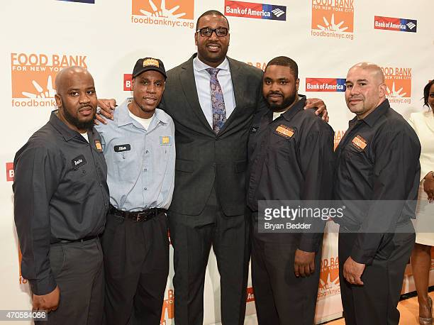 NFL football player Chris Canty and Food Bank For New York City warehouse professionals attend the Food Bank For New York City Can Do Awards Dinner...