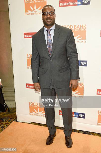 NFL football player Chris Canty attends the Food Bank For New York City Can Do Awards Dinner Gala at Cipriani Wall Street on April 21 2015 in New...