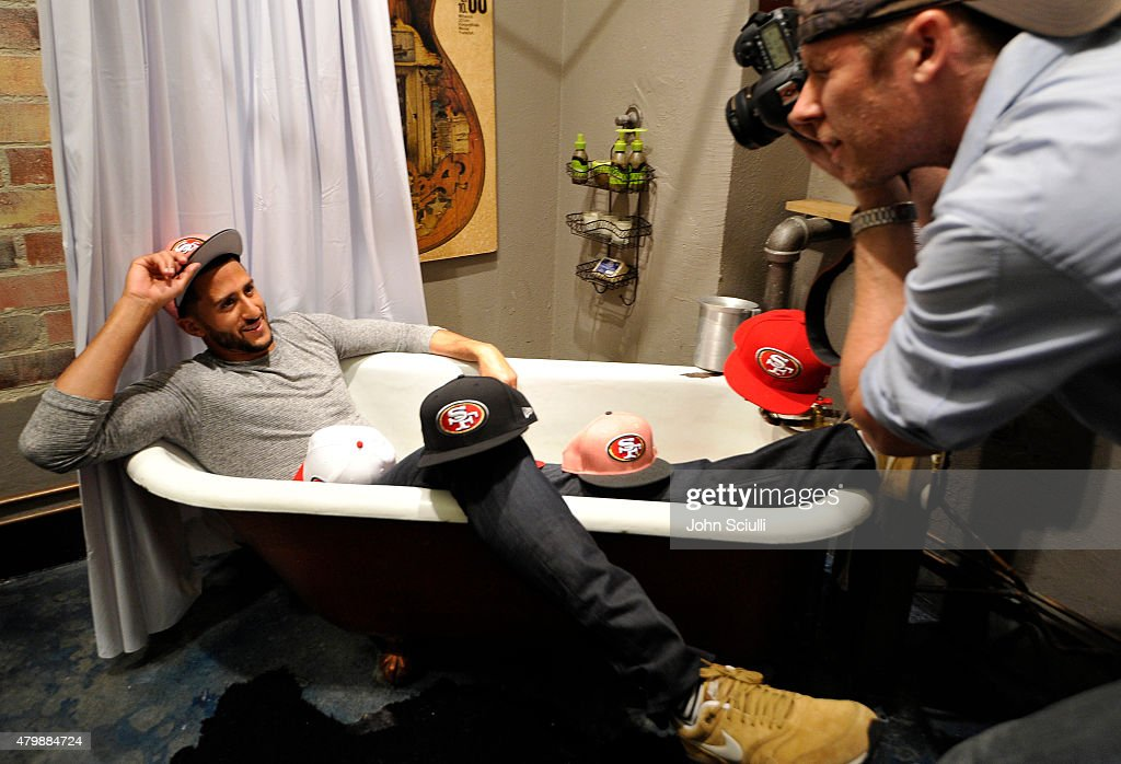 Football player Colin Kaepernick with the San Francisco 49ers is seen on set for 'This is the Cap' Fall campaign shoot on June 26 2015 in Los Angeles...