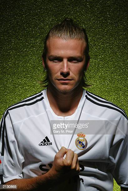 Football player David Beckham wears his Real Madrid #23 shirt on July 2 2003 in Madrid Spain