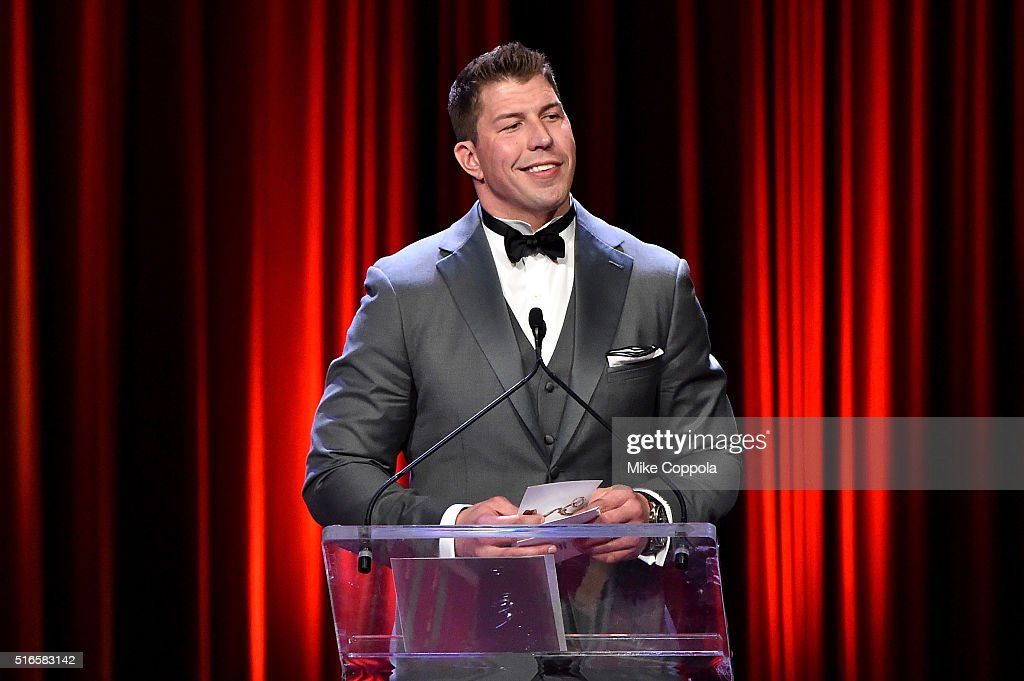 Football player David Diehl speaks onstage at the 59th annual New York Emmy Awards at Marriott Marquis Times Square on March 19, 2016 in New York City.