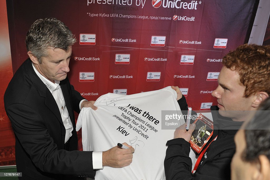 Football player Davor Suker is seen during sign session for fans at the UEFA Champions League Trophy Tour 2011 on September 30, 2011 in Kiev, Ukraine.