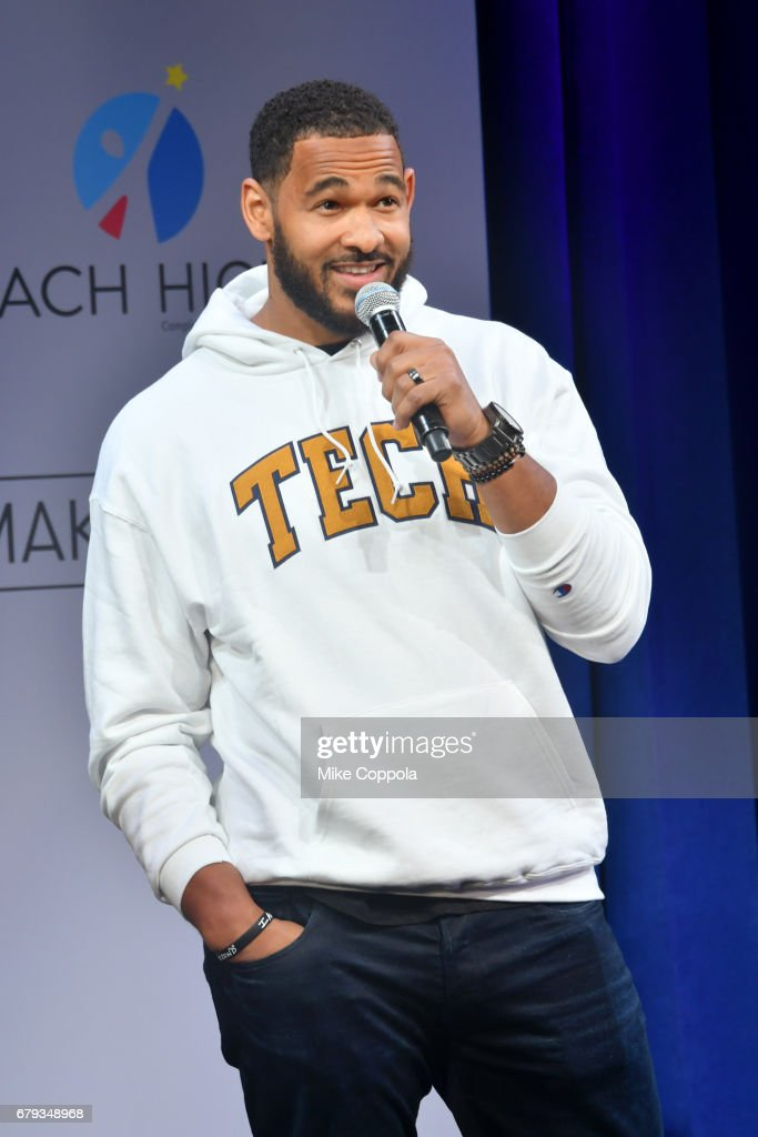 Football player Derrick Morgan speaks onstage during MTV's 2017 College Signing Day With Michelle Obama at The Public Theater on May 5, 2017 in New York City.