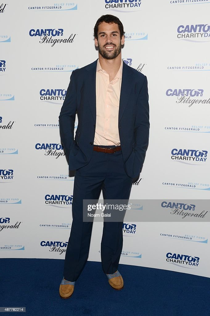 Football player Eric Decker attends the annual Charity Day hosted by Cantor Fitzgerald and BGC at Cantor Fitzgerald on September 11 2015 in New York...