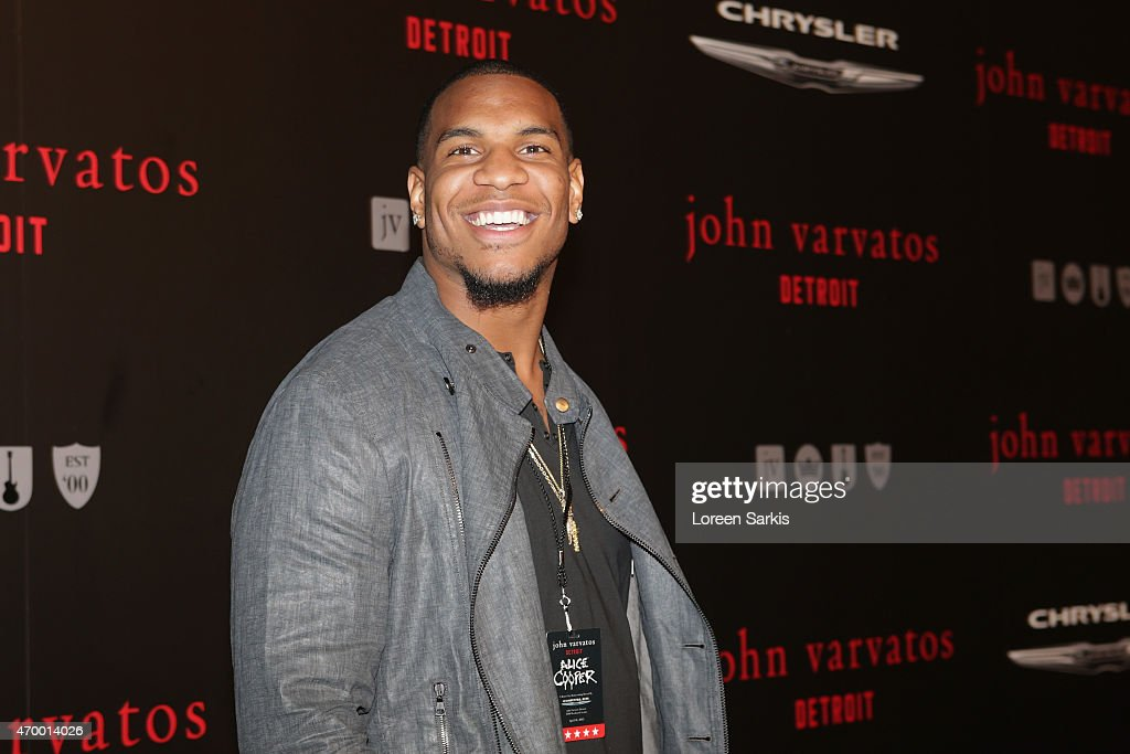 Football player <a gi-track='captionPersonalityLinkClicked' href=/galleries/search?phrase=Eric+Ebron&family=editorial&specificpeople=8312199 ng-click='$event.stopPropagation()'>Eric Ebron</a> attends John Varvatos Detroit Store Opening Party hosted by Chrysler on April 16, 2015 in Detroit, Michigan.