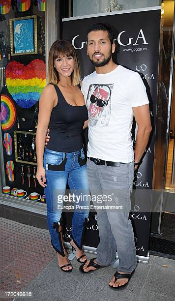 Football player Ezequiel Garay and her wife Tamara Gorro attend the opening of their second clothes shop 'Go' on June 28 2013 in Madrid Spain
