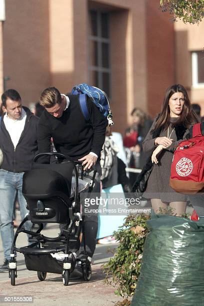 Football player Fernando Torres Olalla Dominguez and their newborn child are seen on December 15 2015 in Madrid Spain