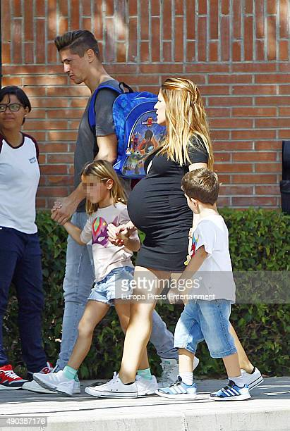Football player Fernando Torres Olaya Dominguez and their kids Leo Torres and Nora Torres are seen on September 25 2015 in Madrid Spain