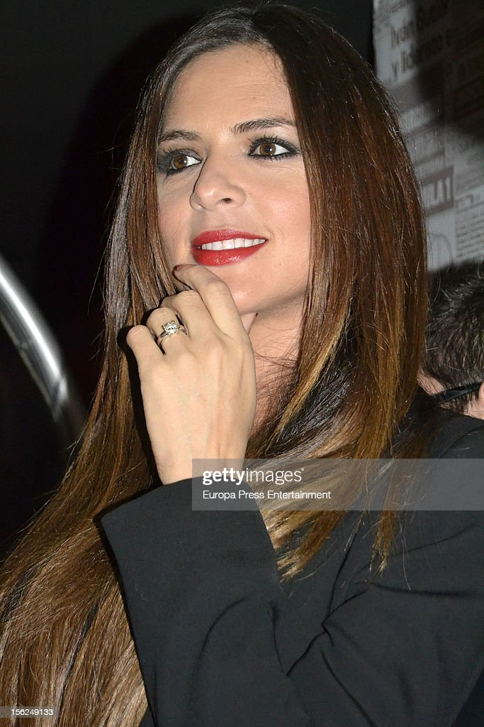 Football player Guti's pregnant girlfriend Romina Belluscio attends the presention of the race 'Marca Derbi de las aficiones' on November 8 2012 in...