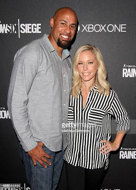 Football player Hank Baskett and TV personality Kendra Wilkinson attend Ubisoft's 'Rainbow Six Siege' launch party at Exchange LA on November 23 2015...