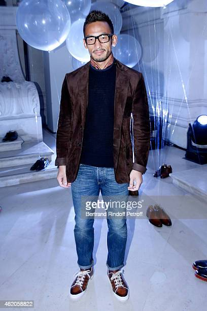 Football player Hidetoshi Nakata attends the Berluti Menswear Fall/Winter 20152016 Show as part of Paris Fashion Week Held at Musee des Arts...